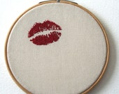 Lipstick Traces Wooden Framed Hand Embroidered Valentine Wall Hanging
