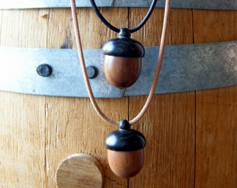 Wooden Acorn Locket Necklace with Leather Cord - Choose Leather Color at Checkout - Acorn Necklace