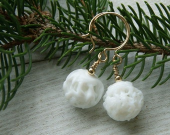 Vintage White Glass Bead Earrings with Gold Filled Earwires