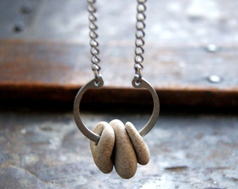 Hag Stone Necklace with Retaining Ring and Vintage Stainless Steel Chain - Hagstone Necklace