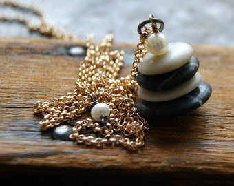 Black and Ivory Beach Stone Cairn Necklace with White Freshwater Pearls - Cairn Jewelry - Four Stone Cairn Pendant
