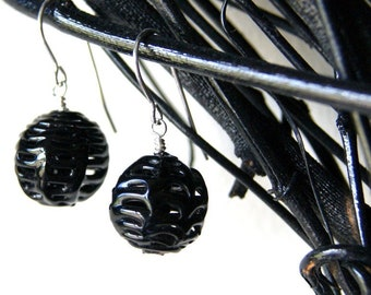 Black Vintage Spider Web Lace Glass Bead Earrings with Sterling Silver Earwires - Halloween Earrings