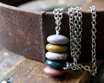 Ocean Jasper Cairn Necklace with Stainless Steel Rolo Chain - Gemstone Cairn Pendant - Five Stone Cairn Pendant