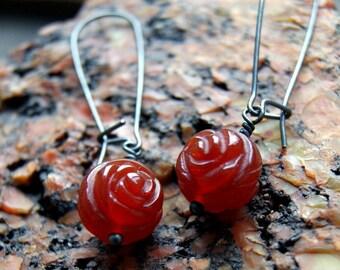 Carnelian Rose Earrings with Oxidized Sterling Silver Earwires