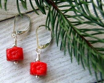 Vintage Red Glass Flower Earring with Sterling Silver Earwires - LAST PAIR