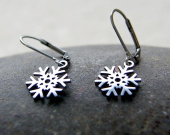 Stainless Steel Snowflake Earrings - Choose Earwires at Checkout
