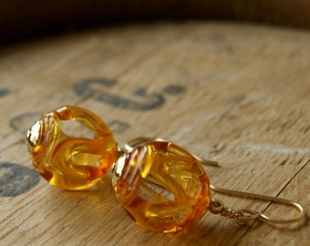 Golden Topaz Vintage Lace Glass Bead Earrings with Gold Filled Metal