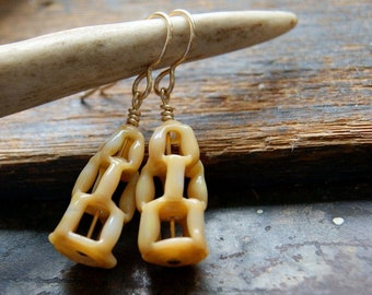 Tan Vintage Honeycomb Glass Bead Earrings with Gold Filled Metal