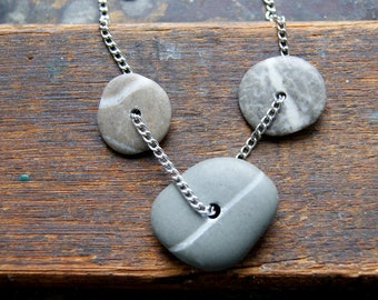 Wishing Stone Necklace with Three Stones and Vintage Stainless Steel Chain - Beach Stone Necklace