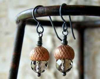 Acorn Earrings with Faceted Smoky Quartz and Vintage Copper Plated Acorn Caps