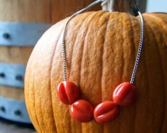 Pumpkin Orange Vintage Glass Bead Necklace with Vintage Stainless Steel Chain - Pumpkin Necklace