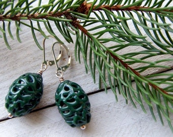 Forest Green Vintage Lace Glass Bead Earrings with Sterling Silver Earwires