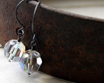 Vintage Aurora Borealis Crystals Bead Earrings with Oxidized Sterling Silver Earwires