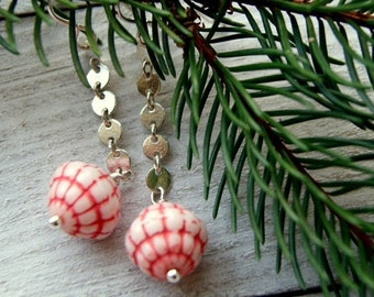 Vintage Red and White Glass Bead Earring with Sterling Silver Chain and Earwires