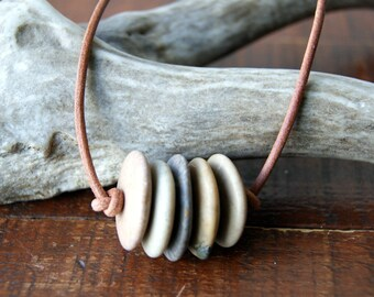 Beach Stone Bar Necklace with Leather Cord - Choose Cord Color at Checkout - FREE Gift Wrap