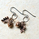 Acorn and Oak Leaf Earrings, Antiqued Copper Woodland Charms  - Wear Your Wild gift