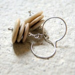 Cairn Earrings - beach stones with sterling silver earwires - natural jewelry - Beach Wedding - Nautical Wedding - sea stone earrings