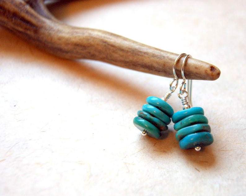 Natural Campitos Mine Turquoise Cairn Earrings with Sterling Silver OR Gold Filled Metal Cairn Jewelry