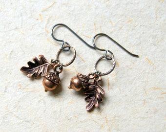 Acorn and Oak Leaf Earrings, Antiqued Copper Woodland Charms