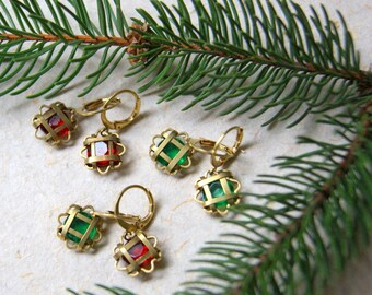 Vintage Brass Cage with Glass Stone Earrings - Choose color combo at checkout - Christmas Earrings - LAST PAIR - FREE Gift Wrap