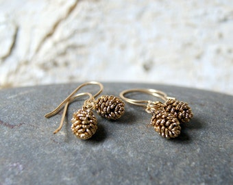 Antiqued Gold Pine Cone Earrings - Choose Earwires at Checkout - Pinecone Earrings - Rustic Pine Cone Earrings