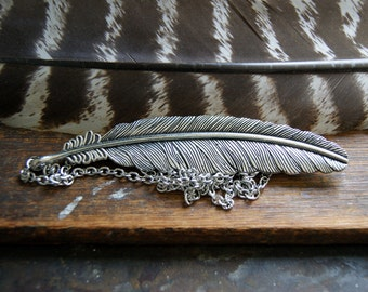 Large Feather Necklace - Silver Feather Necklace - Choose Chain at Checkout