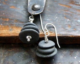 Gray River Stone Cairn Earrings with Sterling Silver Earwires - Rock Cairn Earrings - Cairn Jewelry