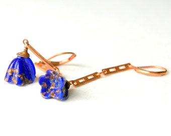 Blue Flower Earrings - vintage lampwork glass flowers with copper earwires
