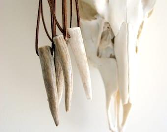 Antler Horn Necklace - Real Deer Antler Point Pendant - choose cord color at checkout