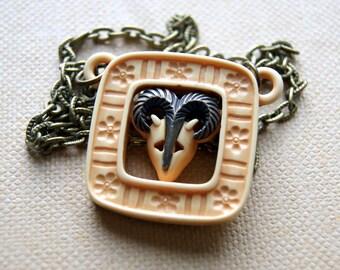 Ram Necklace - Vintage Lucite Ram Pendant