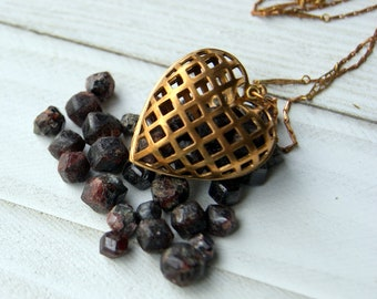 Heart Necklace - Vintage Brass Cage Heart Locket Necklace Filled with Raw Garnets