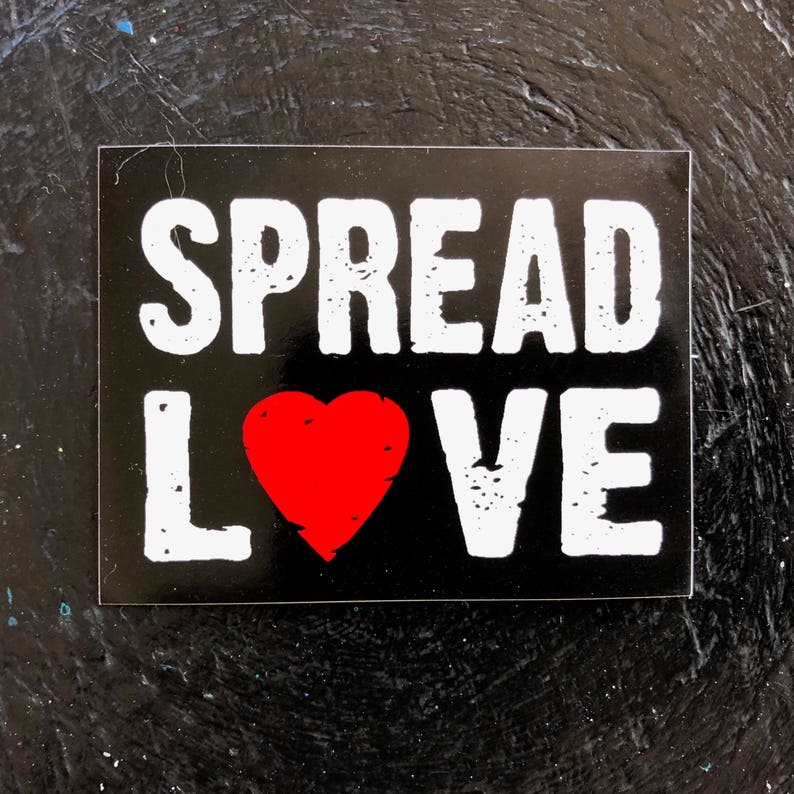 stickers SPREAD LOVE vinyl decal heart black white red image 0
