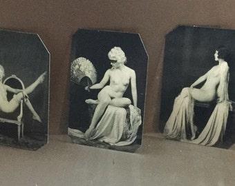 Lot of 3 Ziegfeld Alfred Cheney Johnson Risque Tintypes 409-411NP