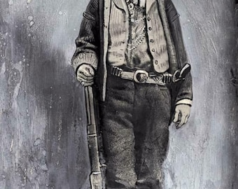 Sixth -Plate Billy The Kid Slightly Tinted Tintype C2450rp