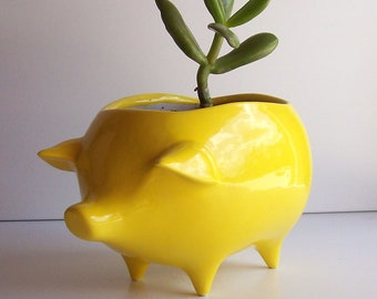 Pig Planter Succulent Planter Ceramic Planter Vintage Design Lemon Yellow, Retro, Sponge Holder Kitchen Home Decor Garden Cactus pot