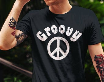 Groovy Peace Sign Retro T-Shirt Hippie 70's Vintage Design Shirt Seventies Beach Top Trendy Boho Tee Unisex