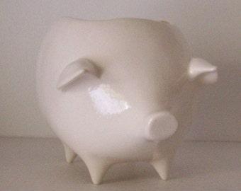 Ceramic Pig Planter Vintage Design in White