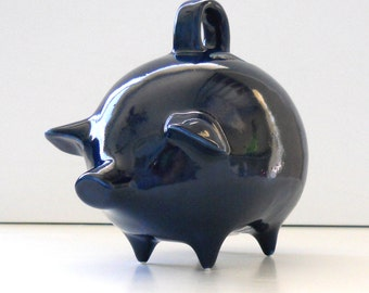 Mexican Piggy Bank, Money Bank, Money Box, Coin Holder,  Vintage Design In Navy Blue Home Decor, First Birthday Gift, Baby Shower Gift