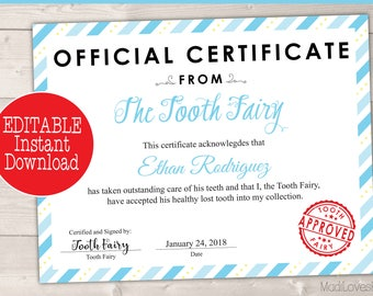 certificate from tooth fairy boy printable letter missing teeth ideas first lost tooth kit template pdf letterhead last minute gift ideas