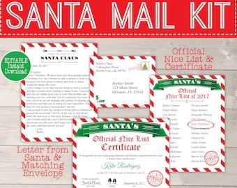 Letter santa kit etsy personalized santa letter with envelope nice list certificate letter from santa printable christmas xmas digital reusable north pole mail spiritdancerdesigns Images