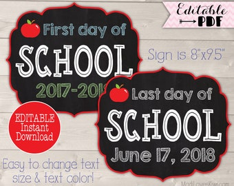 first day of school sign printable back to school sign last day chalkboard photo prop 1st day reusable pdf editable end of year digital