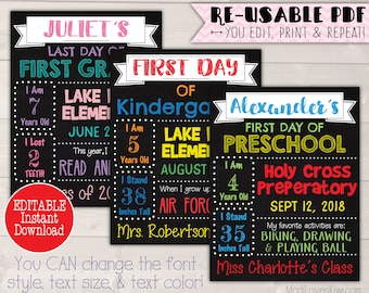 8.5x11 Last Day of School Sign Printable, First Day of School EDITABLE, First Day of School Photo Prop, Back to School, End of School Year
