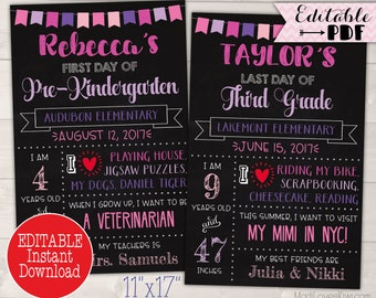 Last Day of School Sign Instant Download, First Day Printable Chalkboard Photo Prop, Editable Stats Poster, 1st Reusable PDF Back End Year