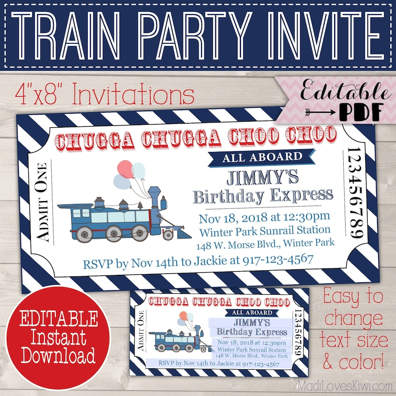 Vintage Train Birthday Invitation Printable Ticket Party