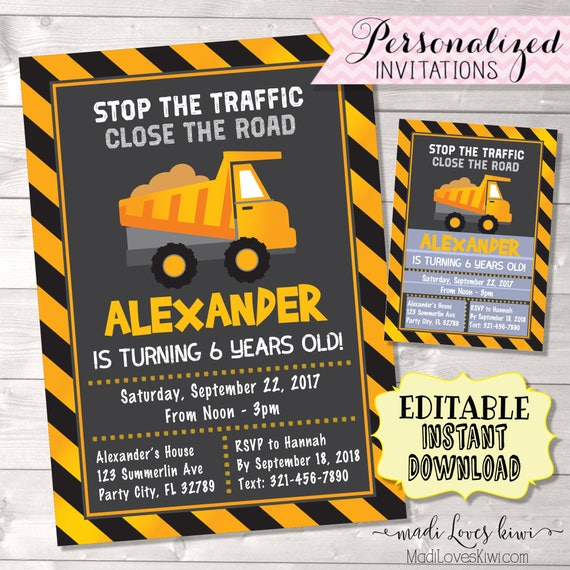 Under Construction Birthday Invitation Digital Dump Truck Party Invite Printable Caution Boy Theme First 1st Editable PDF Builder