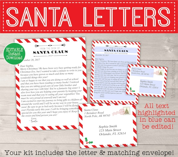 photograph relating to Letter From Santa Template Printable named Custom-made Letter versus Santa Printable, Santa Cam Letter