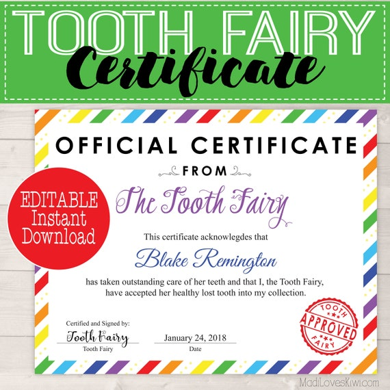 graphic regarding Tooth Fairy Certificate Printable Girl named Editable Enamel Fairy Certification Quick Down load, Initial