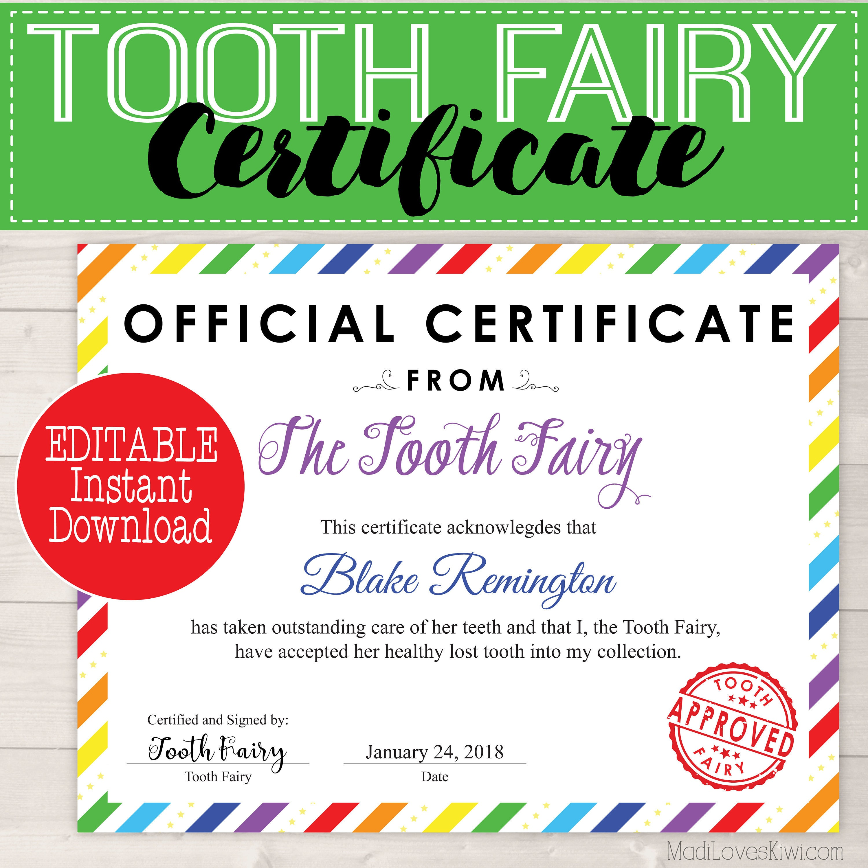 Editable Tooth Fairy Certificate Instant Download First Lost Etsy