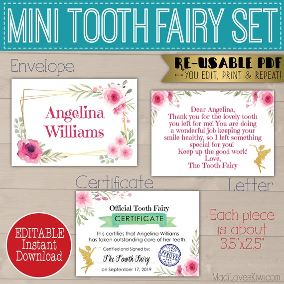 photo relating to Printable Tooth Fairy Certificate called Printable Teeth Fairy Letter PDF, Mini Enamel Fairy
