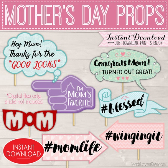 Mother's Day Photo Booth Props, Happy Mothers Day Signs, Printable